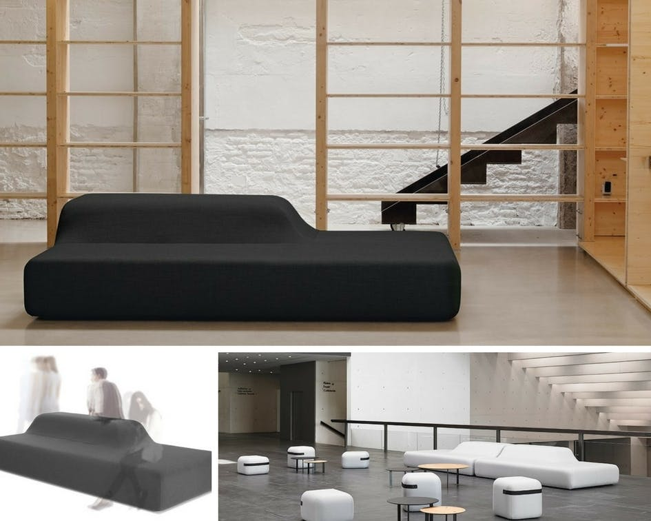 """The """"Season"""" by Piero Lissoni is an upholstered bench for contract use. This configuration makes the """"Season"""" act almost as if it were more than one piece of furniture, and creates an ideal piece for waiting areas in offices, restaurants, hotels, or distinctive homes."""