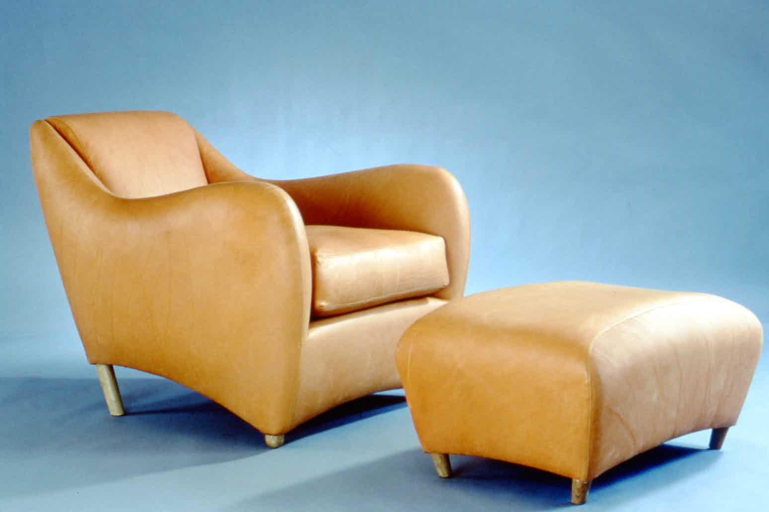 1990's early studio shoot of the Balzac armchair and ottoman.