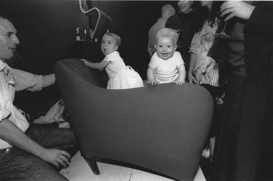 1991 Balzac image An early version of the Balzac armchair on show at SCP Curtain Road in 1991 Featuring Sheridans daughter and a friend