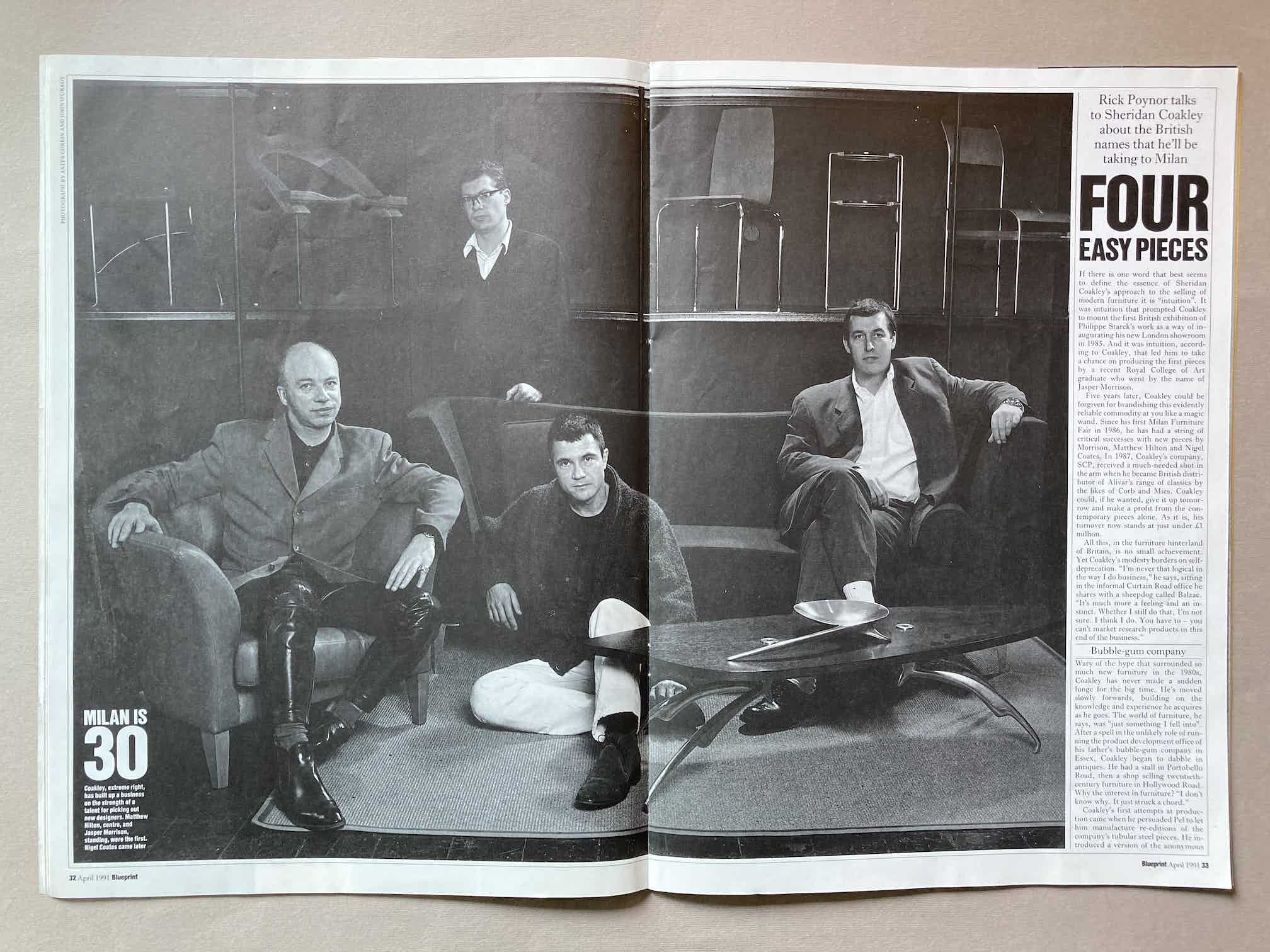 Four Easy Pieces article in Blueprint Magazine April 1991. Featuring a portrait at SCP Curtain Road of Nigel Coates, Jasper Morrison, Matthew Hilton and Sheridan Coakley.