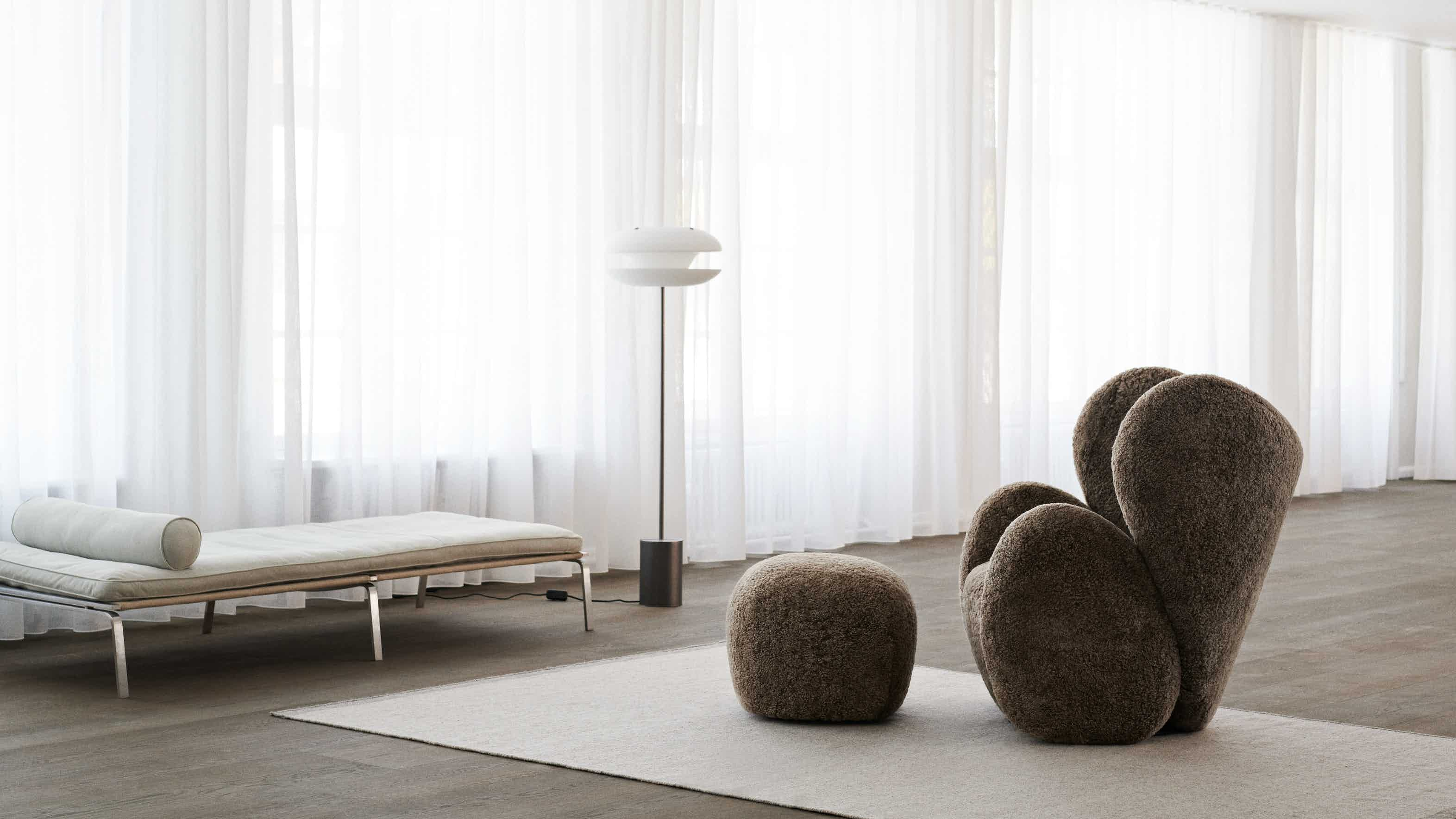 Material pictured is NEW sheepskin in Camel
