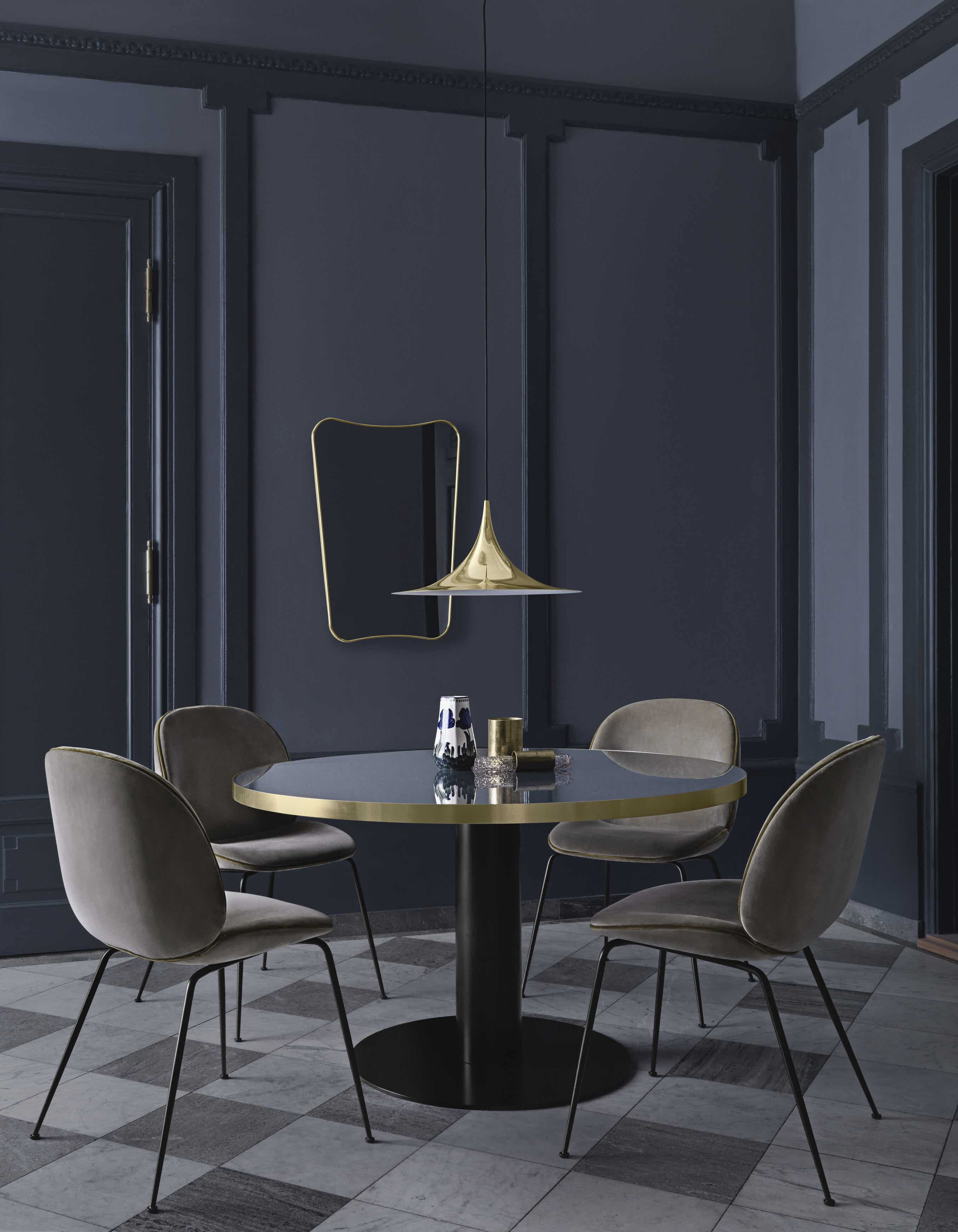 Beetle Dining Chair Fully Upholstered Conic Base GUBI2 0 Dining Table Semi Pendant FA33 Wall Mirror