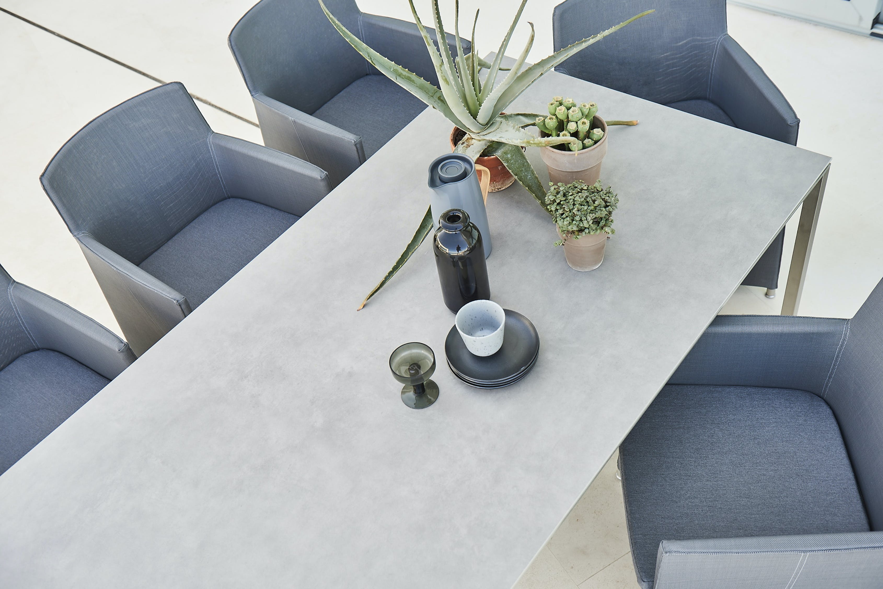 Diamond Chair Grey Pure Table Stainless Concrete 210X100 F7