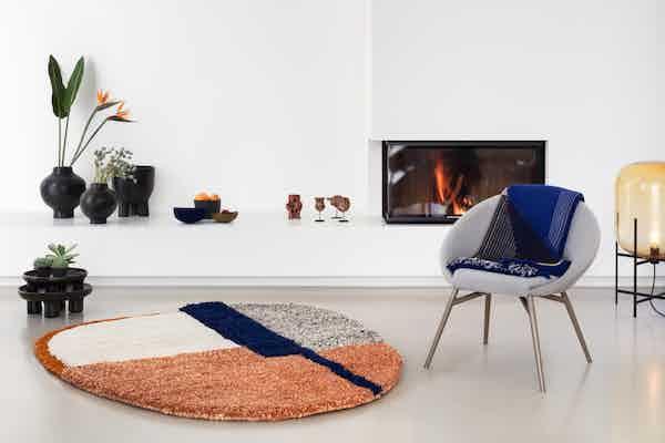 Ames furniture design nudo rug orange insitu haute living