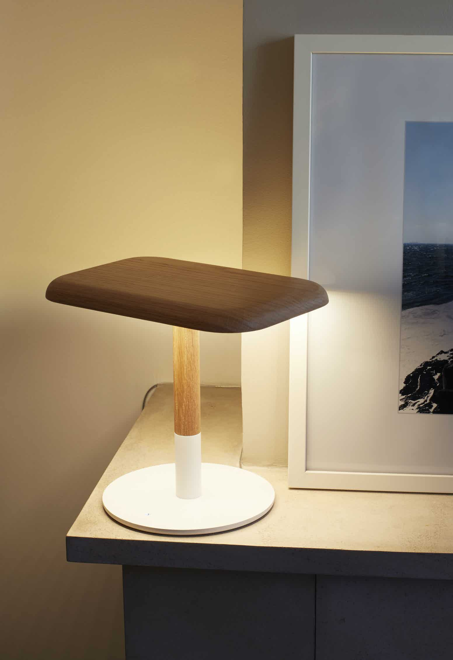 Arpel lighting woody table lamp lit insitu haute living