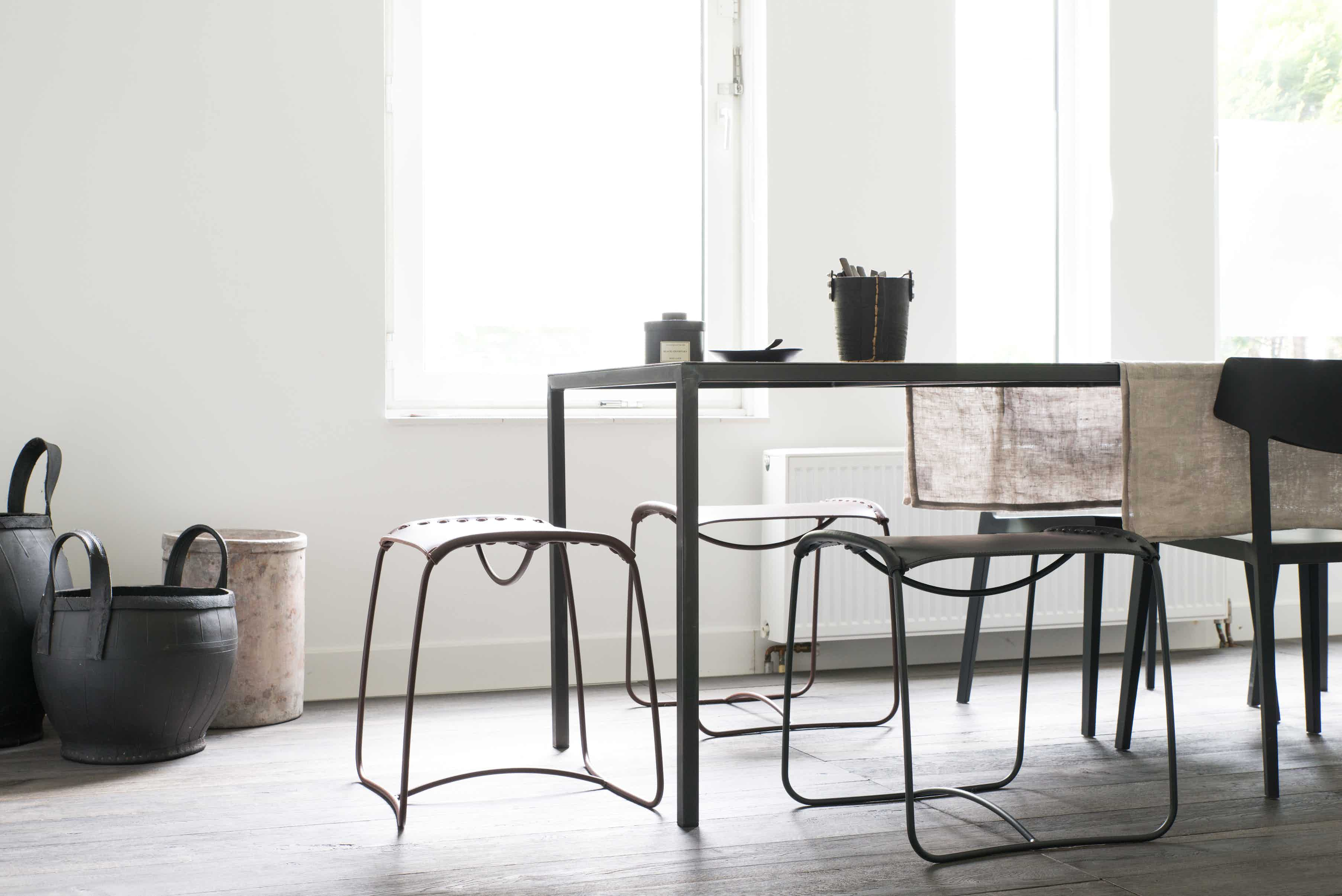 The Perching Stools are family of comfortable stools for flexible use, ideal for our healthier, mobile lives. Designed by Ilse Crawford, they feature hand-stitched leather saddles over a simple wire frame and are perfect for occasional seating.