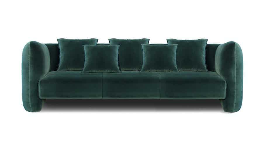 Collector jacob three seater sofa green haute living