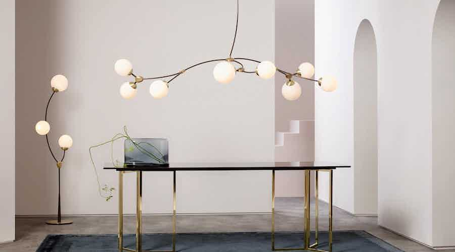 The Ivy 8, inspired by new growth during the spring in London, features curved branches of metalwork with a choice of opal or smoked glass shades. This sculptural piece gives designers new opportunities for lights to be used in less static compositions.The Ivy Pendant 8, by CTO Lighting, is part of the Ivy collection.