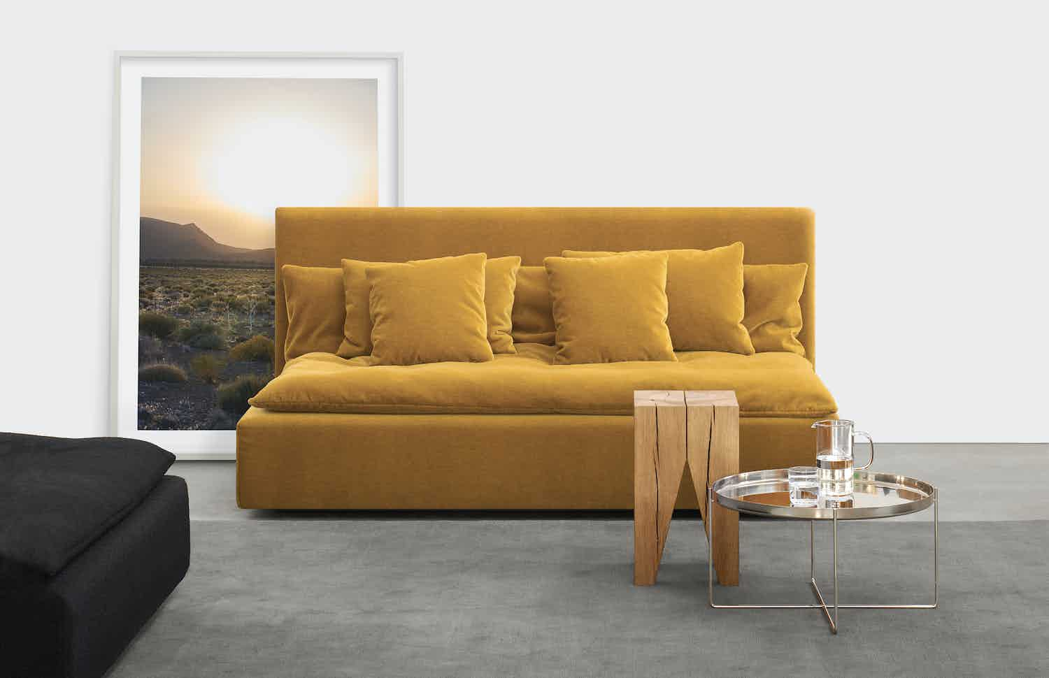 E15 furniture backenzahn side table yellow couch haute living
