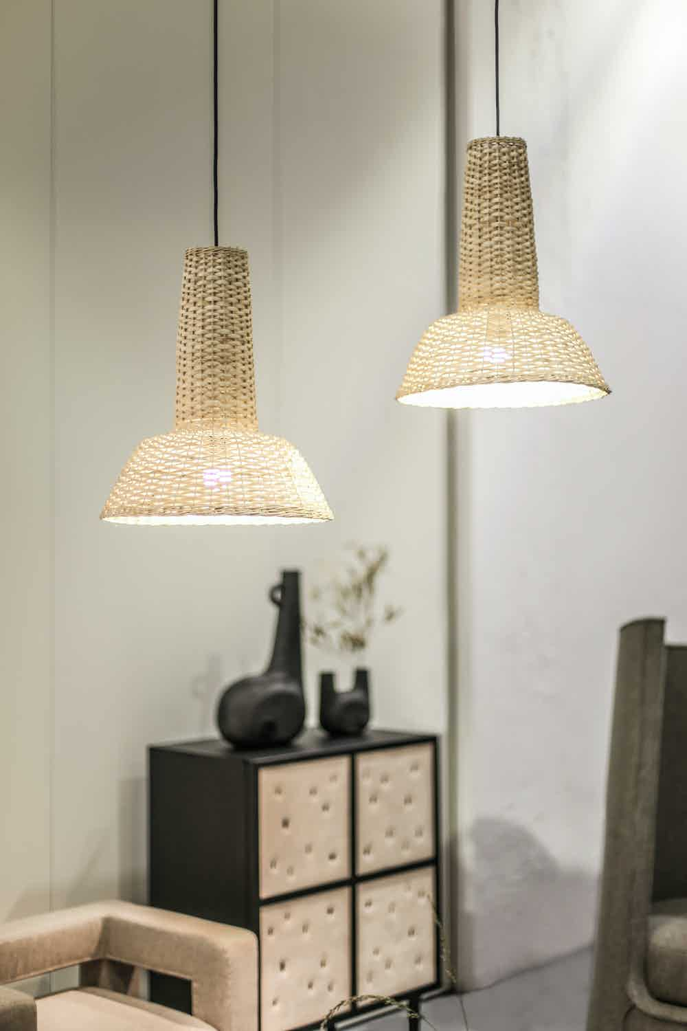 Faina design strikha set pendant lamps lit insitu haute living