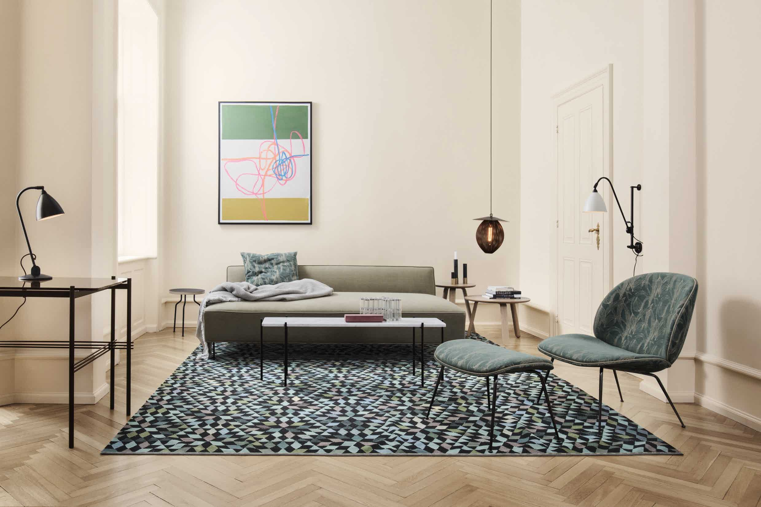Gubi beetle lounge insitu green spec haute living