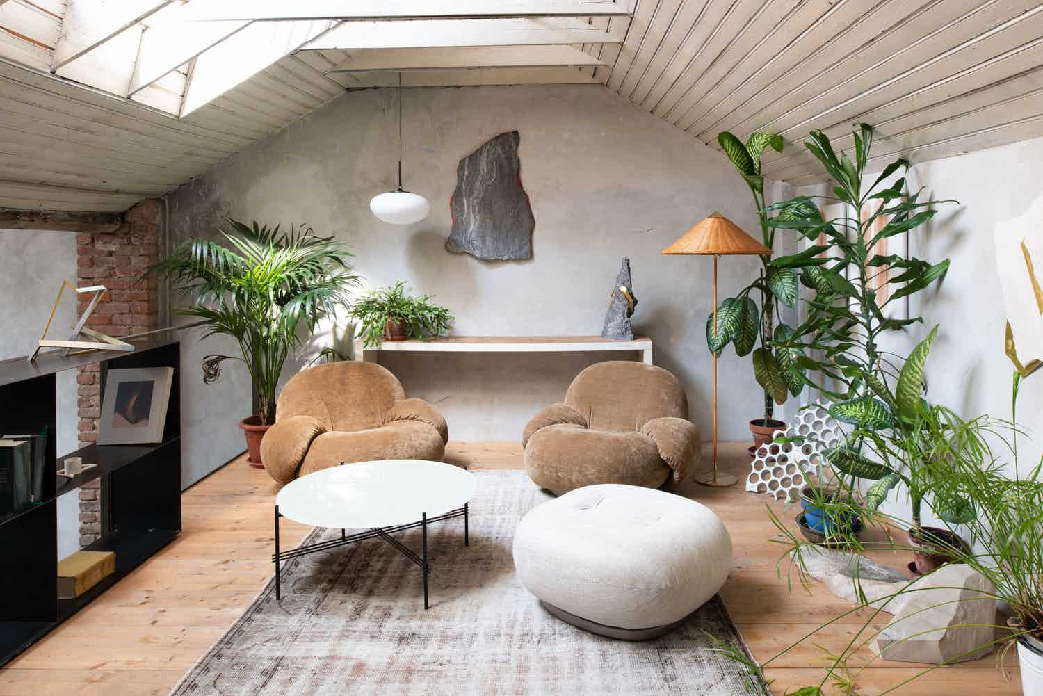 Gubi's organic Pacha Lounge Chair, designed in 1975 by Pierre Paulin.
