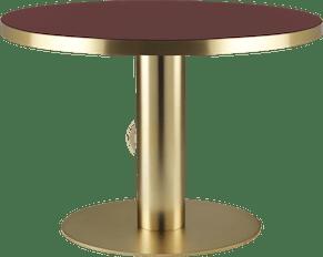Gubi2 0 Diningtable Round Brass Glass 110 Cherryred Image