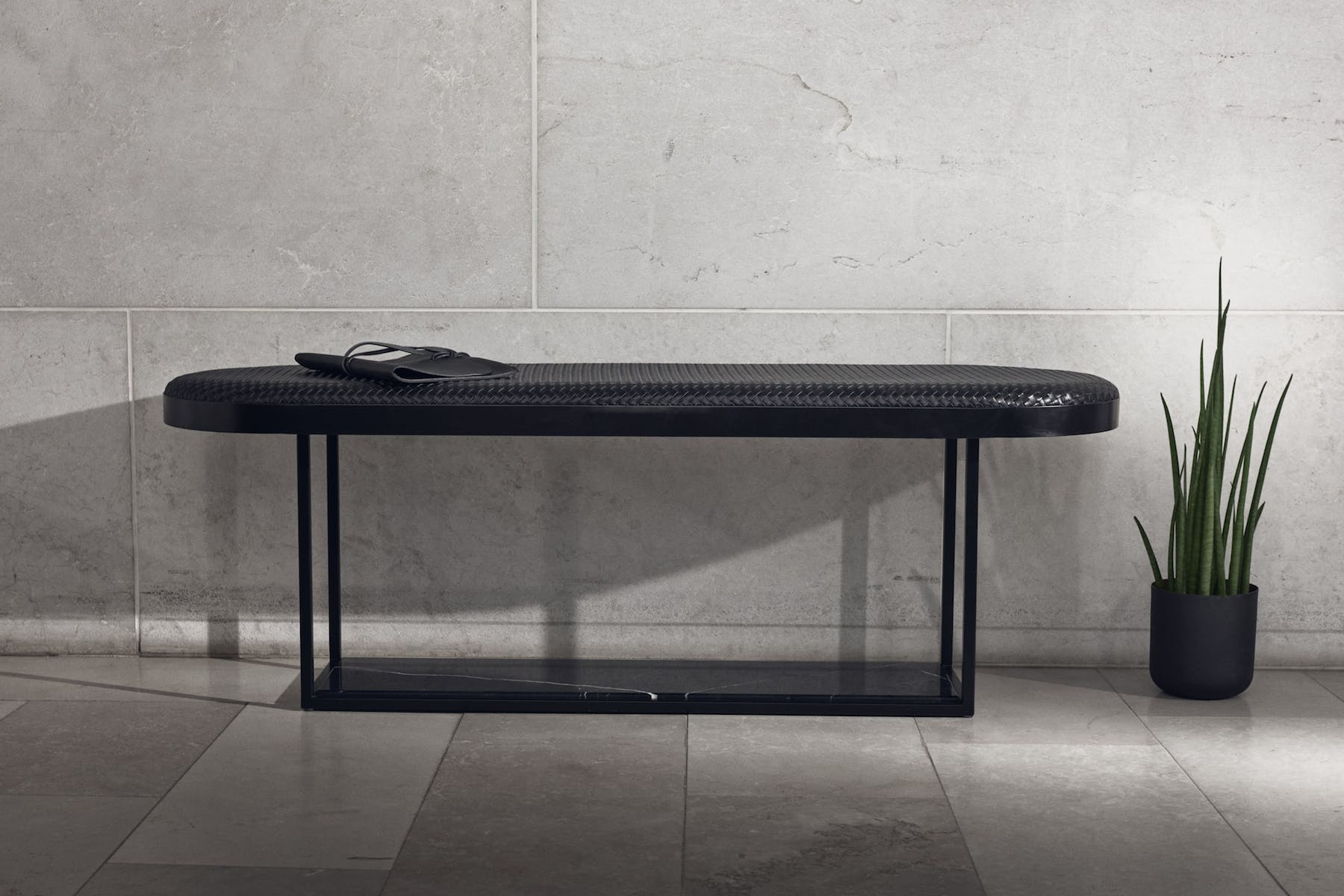 The Hola Bench by Bolia embodies Scandinavian minimalistic design with an option of a hand crafted marble base.
