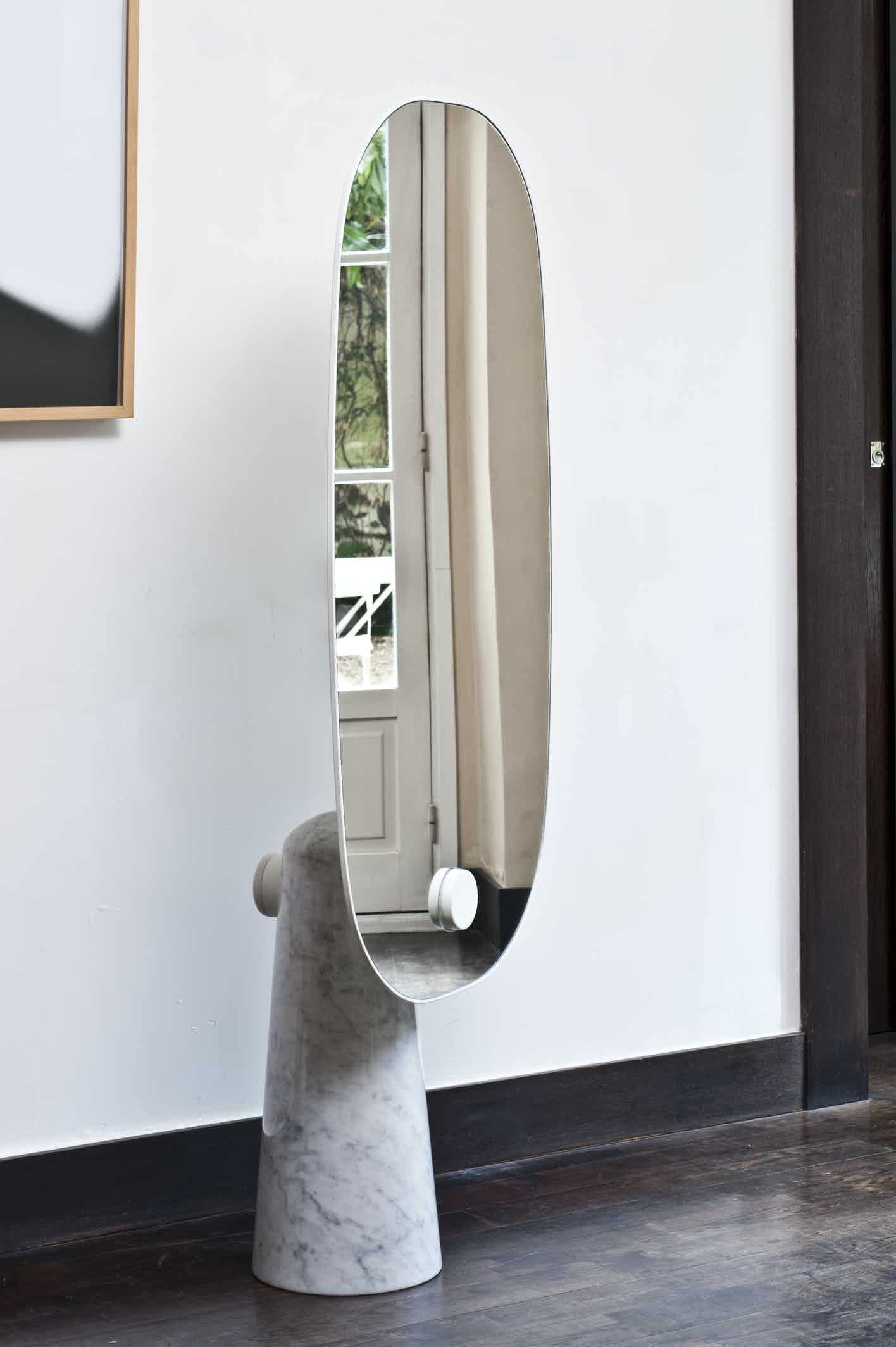La chance furniture iconic standing mirror white haute living