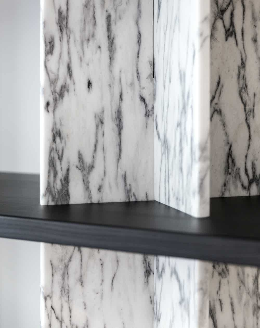 La chance furniture monument shelving system marble black haute living