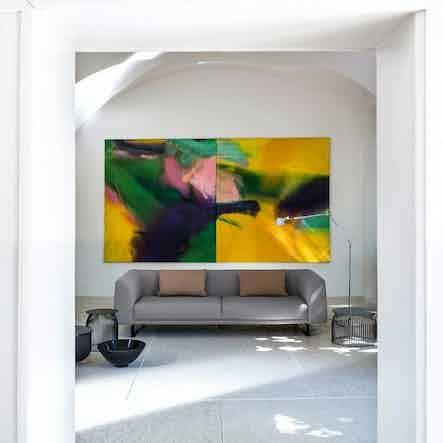 Lacividina tailor sofa grey painting haute living