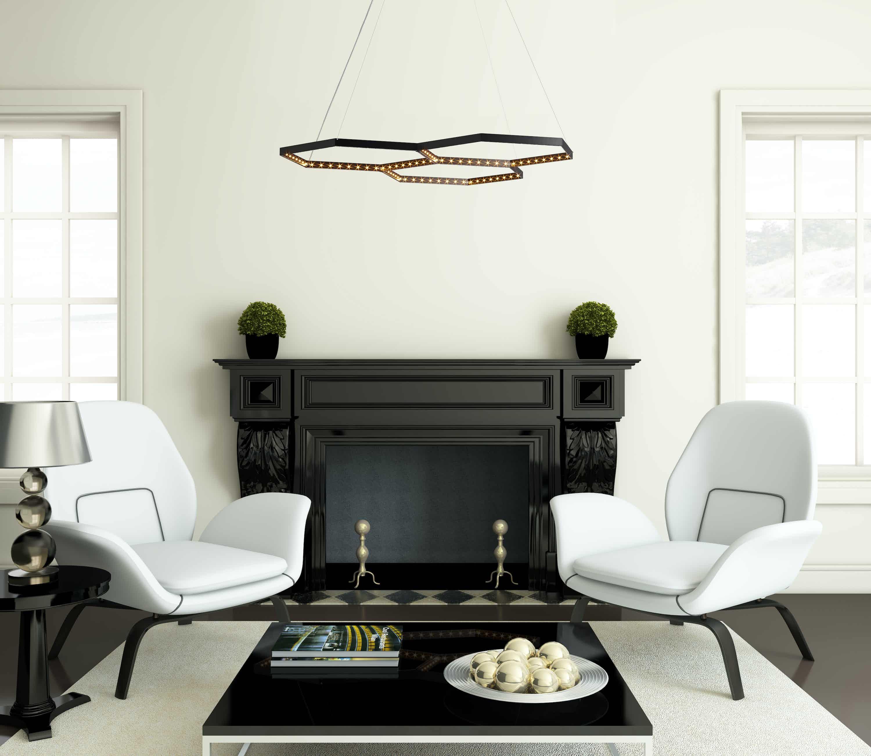 Le deun luminaires hexa 3 hanging lamp white chairs haute living