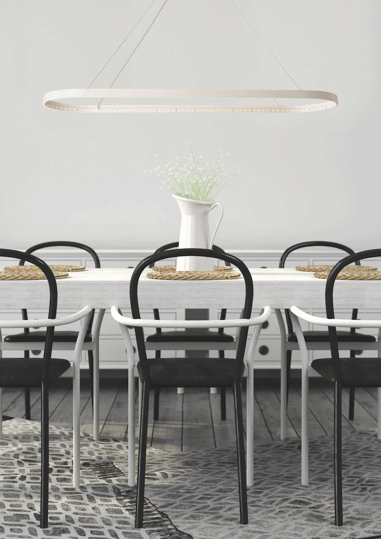 Le deun luminaires oval 100 hanging lamp white table haute living