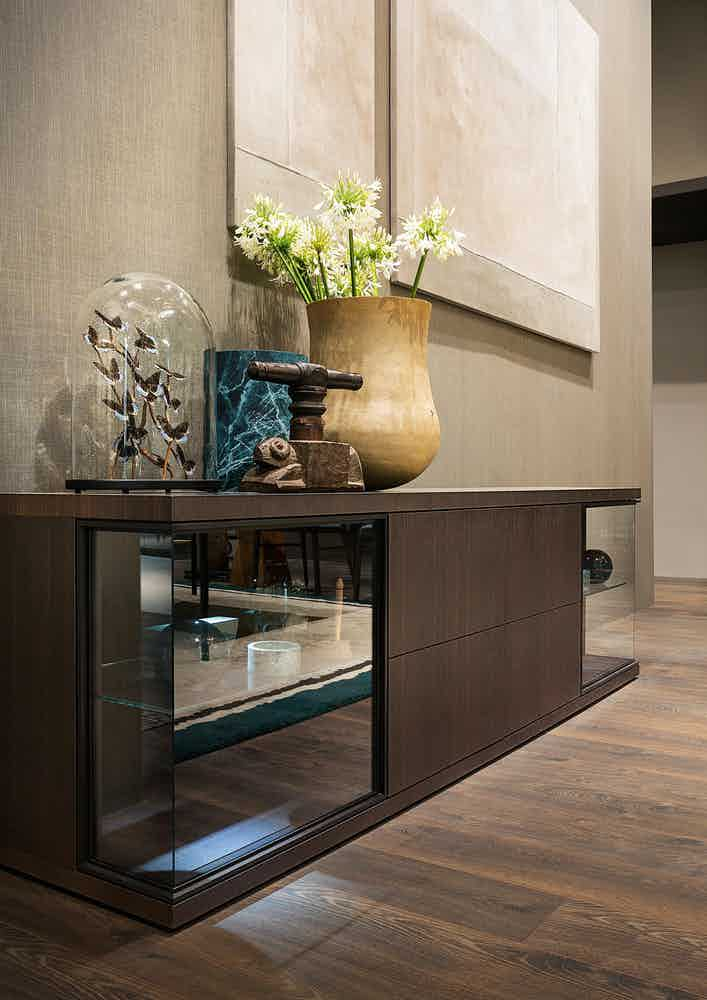 Lema furniture glance low cabinet insitu haute living