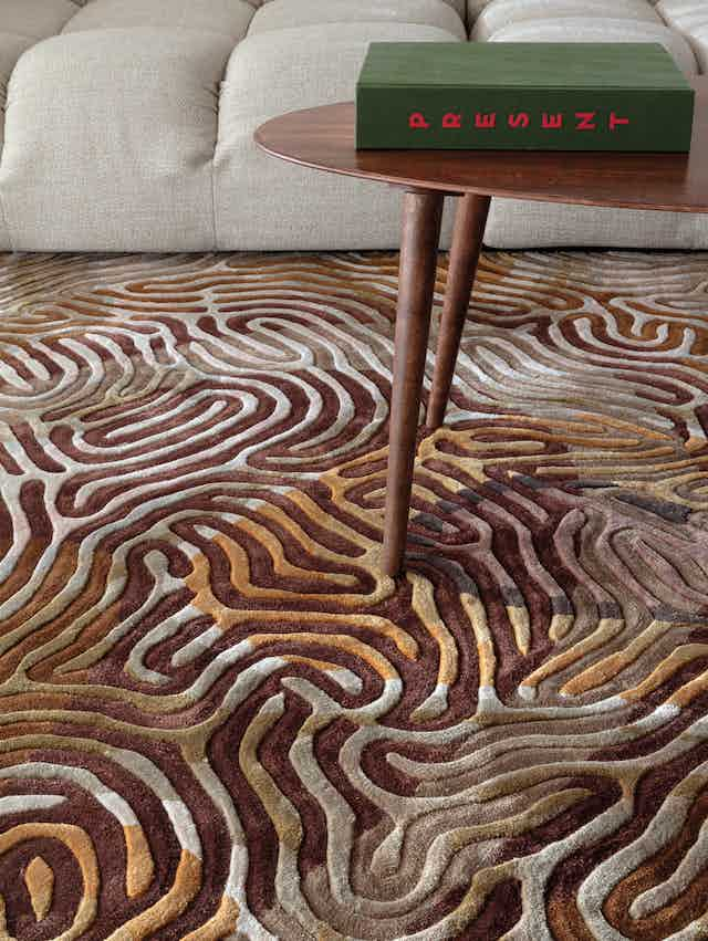 Limited edition rugs parallel brain insitu golden detail haute living
