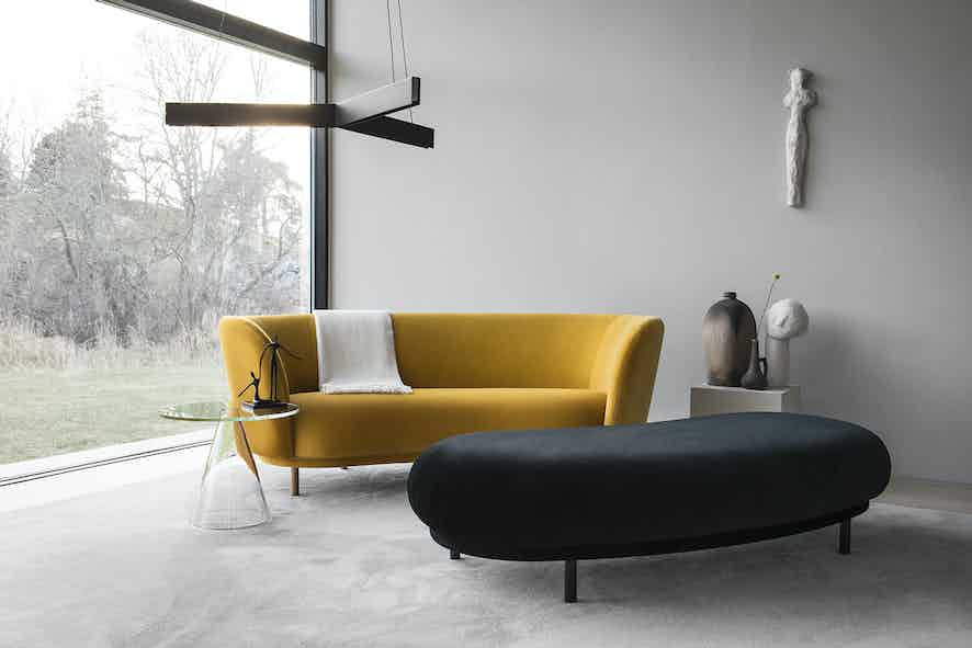 Massproductions dandy sofa insitu yellow haute living