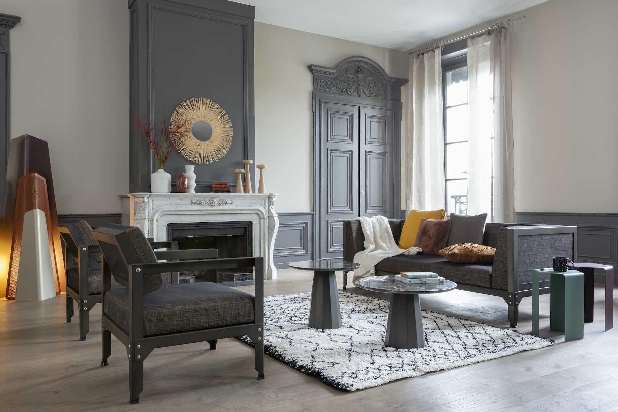 Matiere grise luc jozancy hegoa fauteuil canape interieur salon contemporain metal tissu lavable noir gris