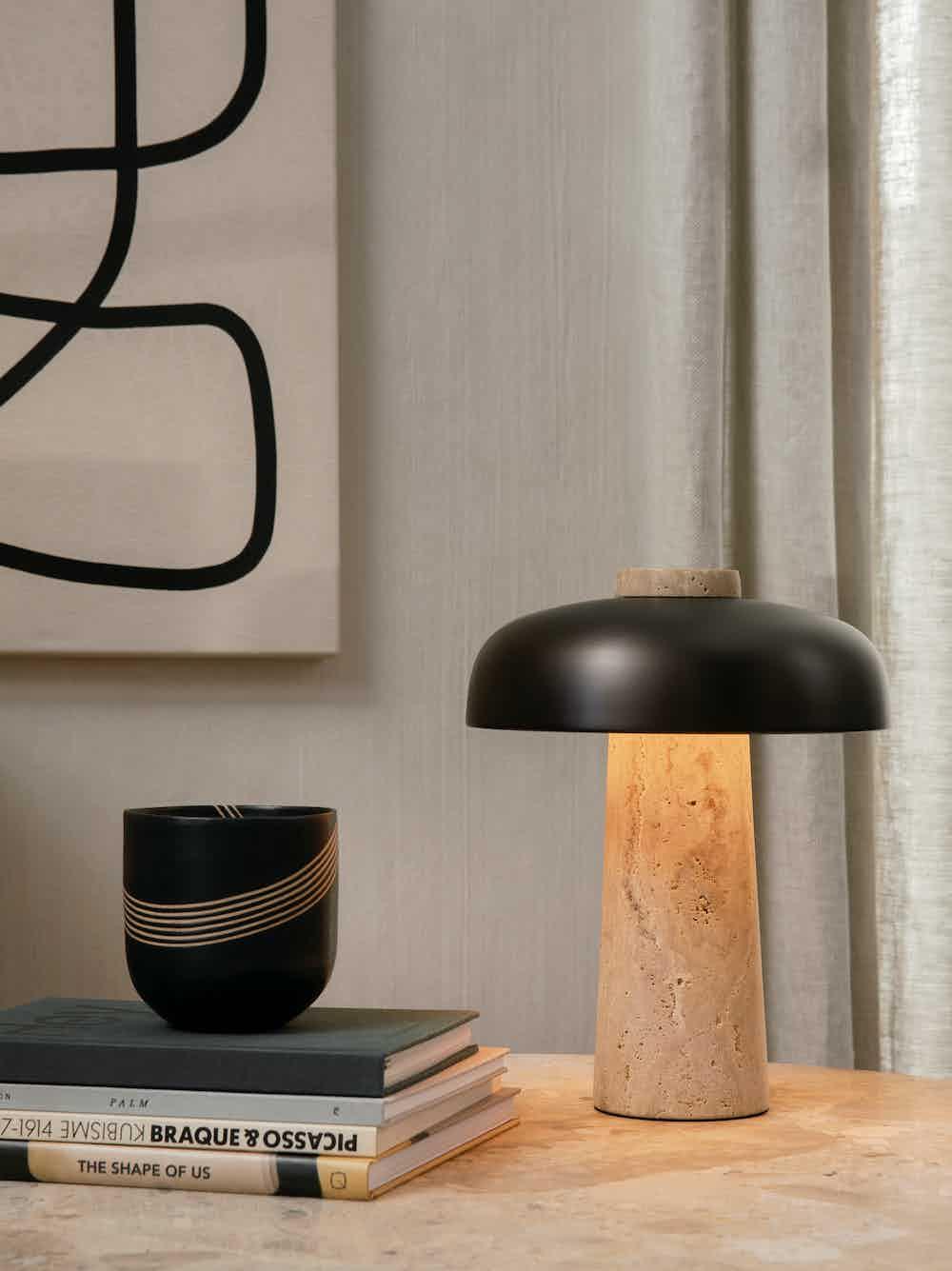Menu furniture reverse table lamp insitu lit haute living