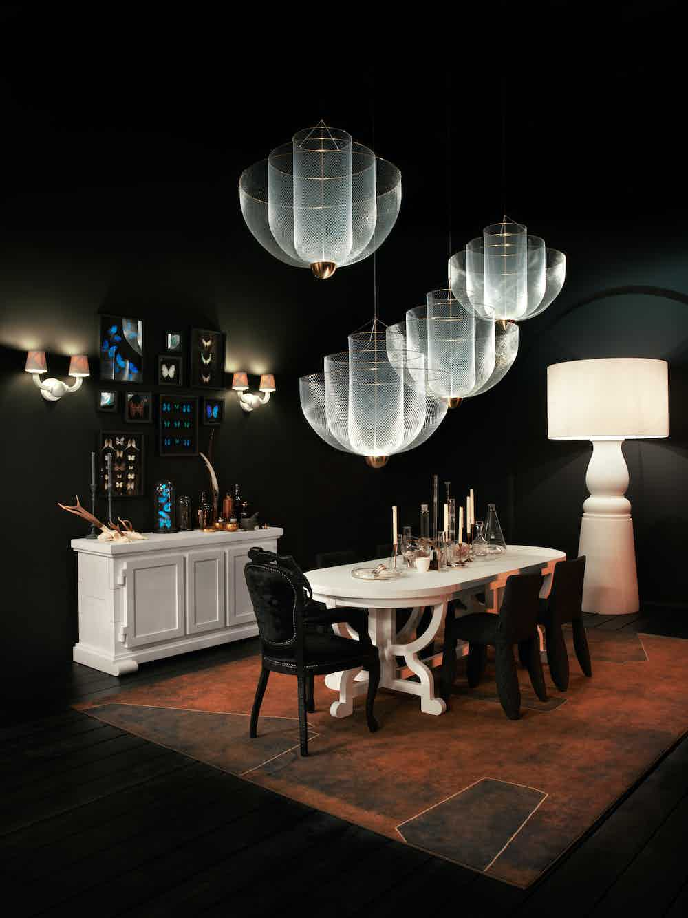 Moooi meshmatics chandelier assorted insitu haute living