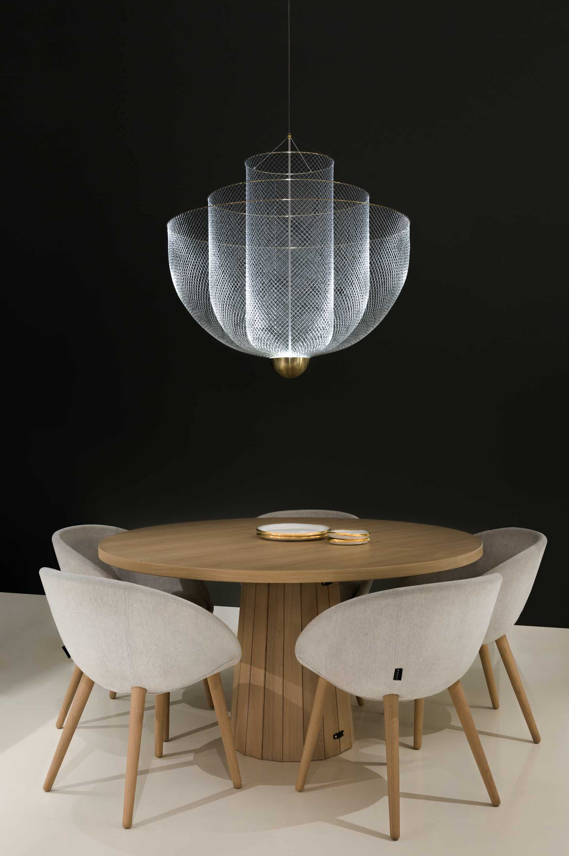 Moooi meshmatics chandelier dining insitu haute living