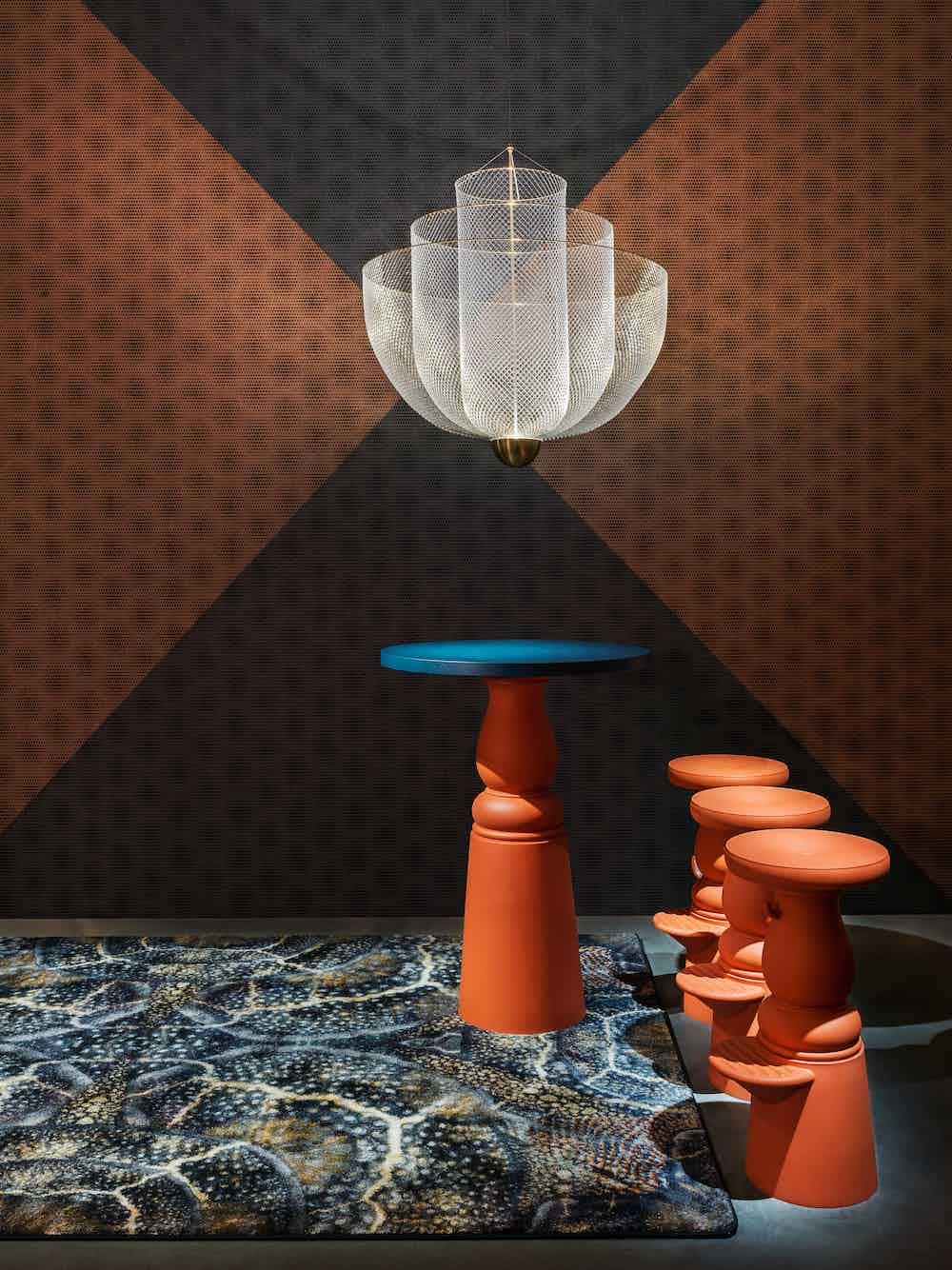 Moooi meshmatics chandelier insitu haute living