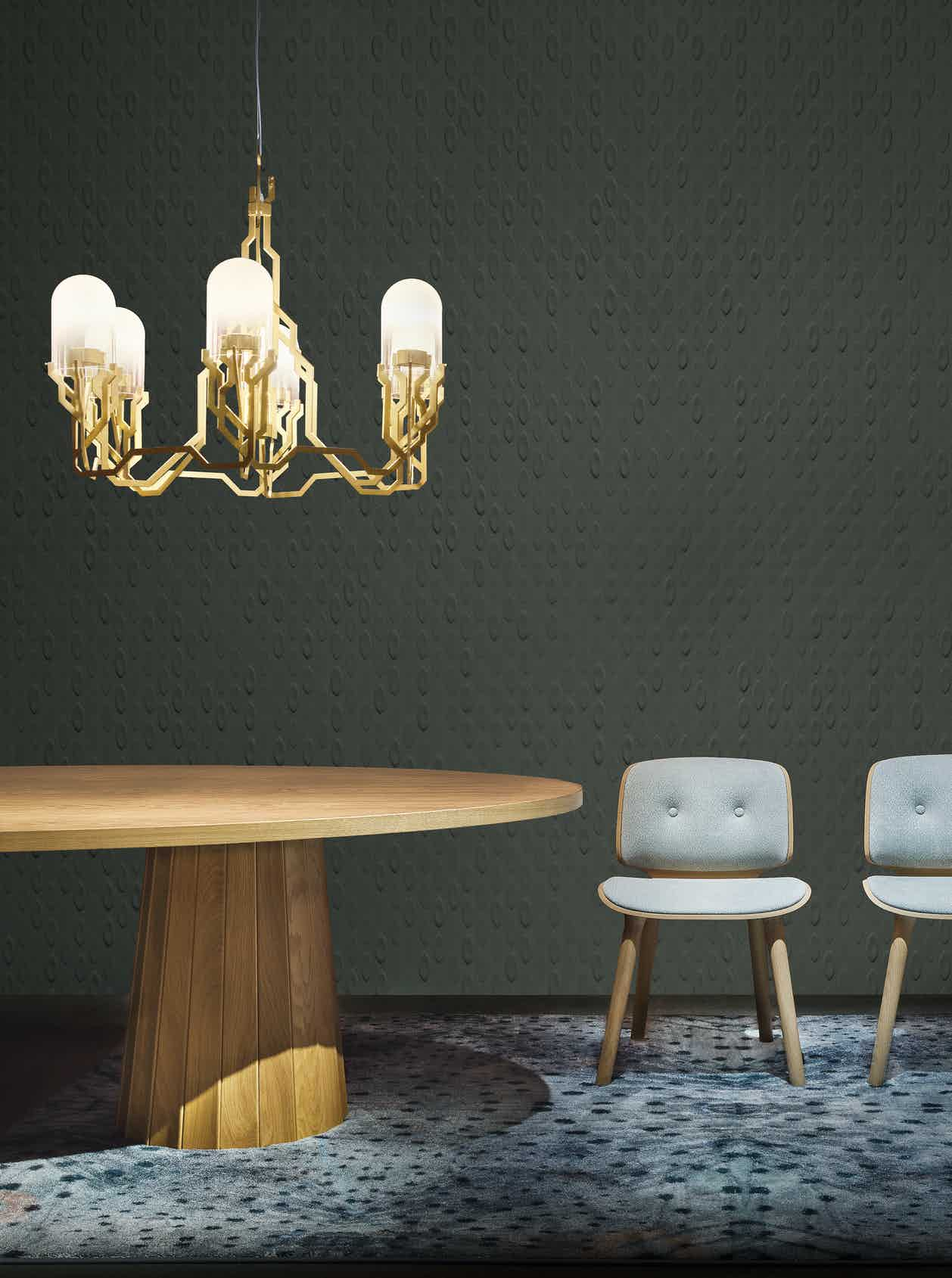 Moooi plant chandelier lit insitu haute living