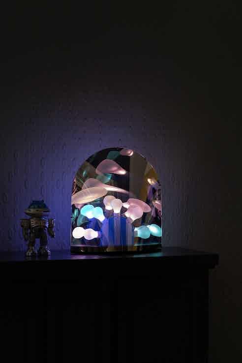 Moooi space table lamp dark insitu lit haute living