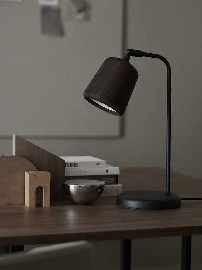 New works furniture material table lamp black insitu haute living