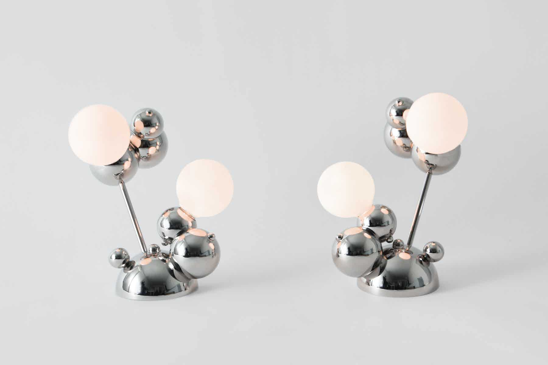 The Bubbly collection (above, the 02-Light Table Lamp) is an on-going exploration of the forces of attraction and other cluster patterns found in nature.