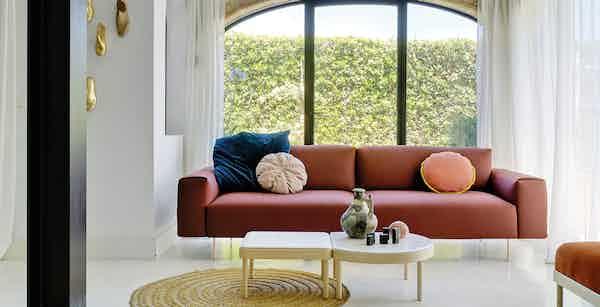 Sancal furniture tiptoe sofa red insitu haute living