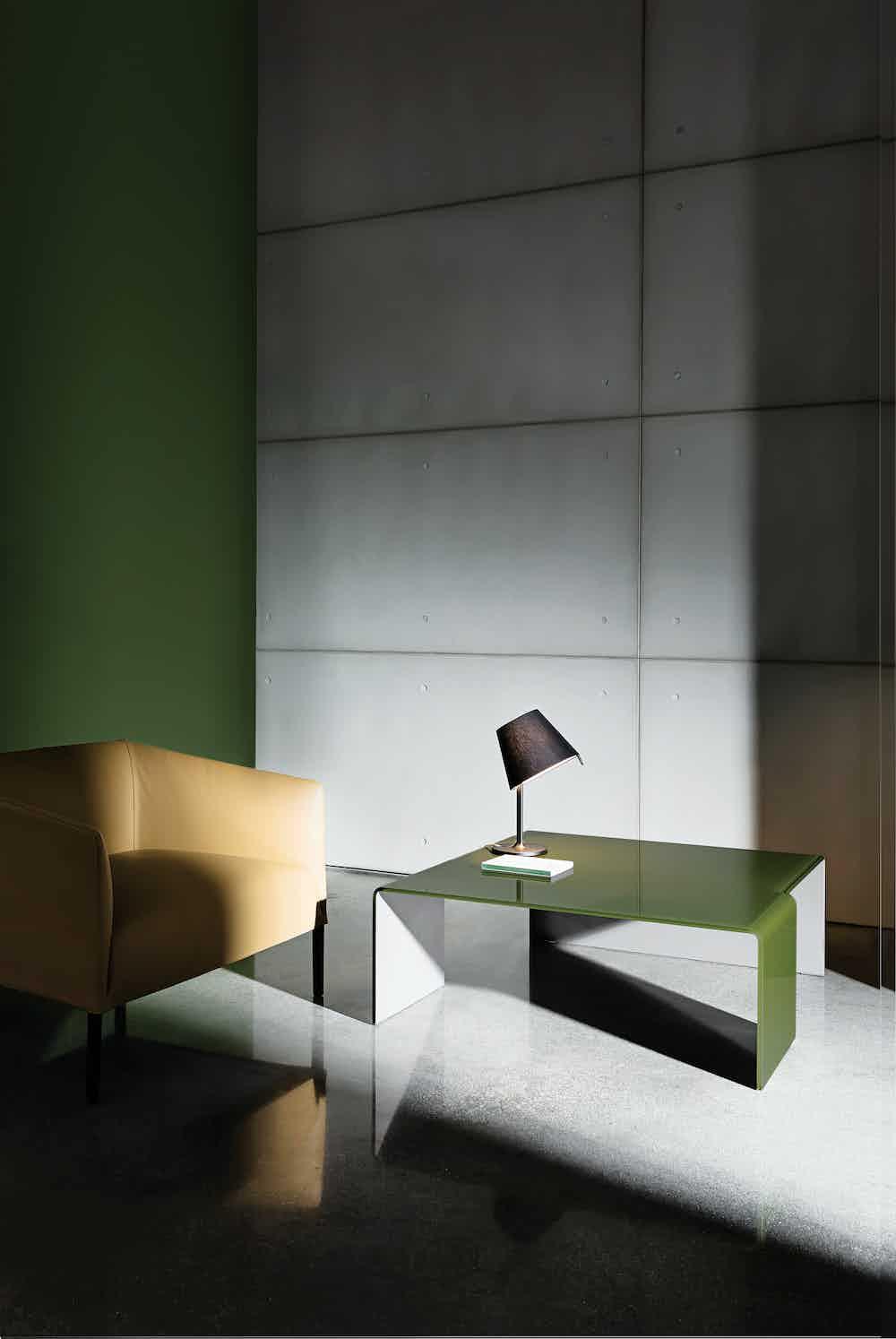 Sovet green glass spider coffee table haute living