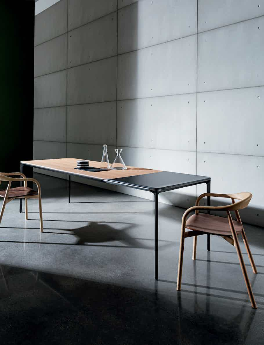 Sovet slim extensible wood dining table insitu haute living