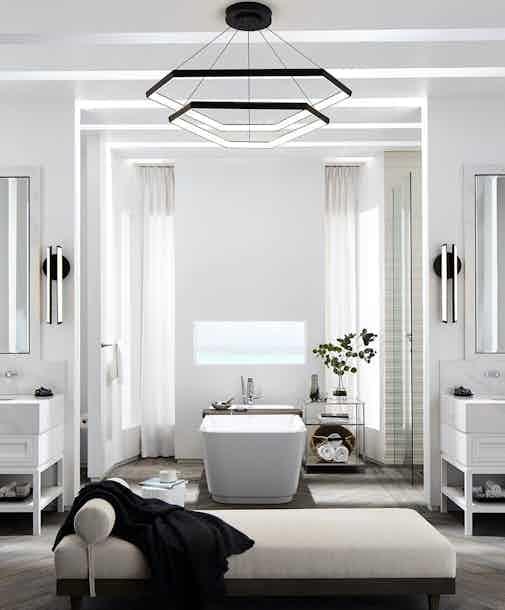Studio endo ditri cascade dxc43 hanging light bathroom insitu haute living