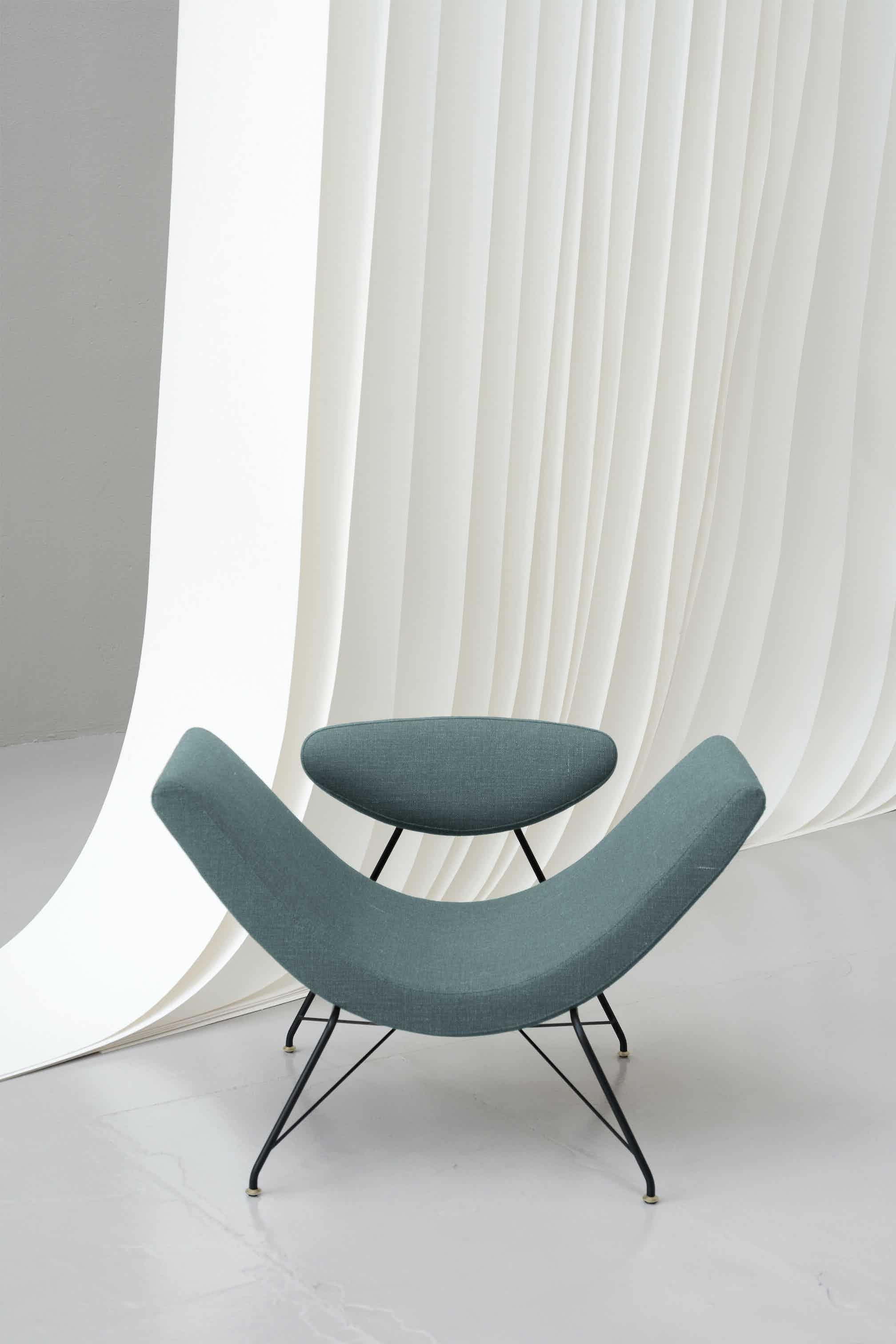Tacchini furniture reversivel armchair blue front haute living