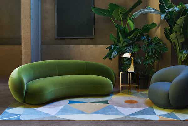 Tacchini julep sofa green insitu haute living