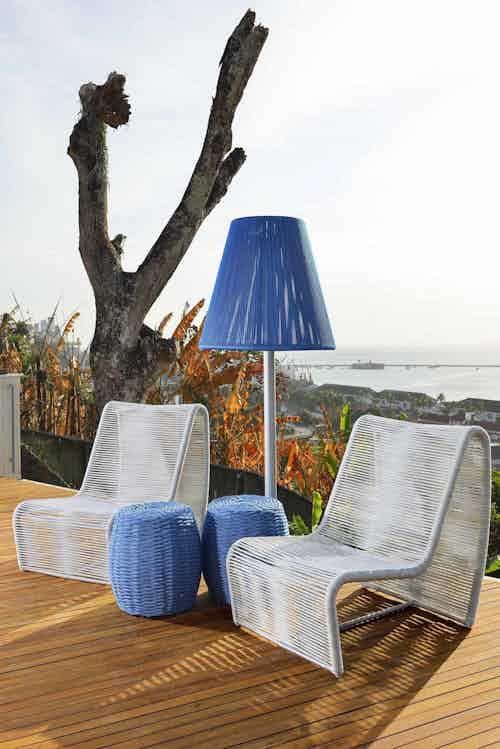 Tidelli marina garden seat blue insitu haute living