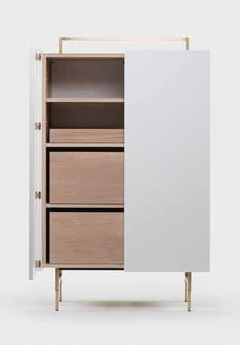 Trunk Tall Cabinet In Neri Hu In White Oiled Oak And White Lacquer 2 Edit