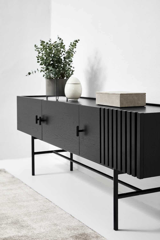 Woud furniture array low sideboard insitu black haute living