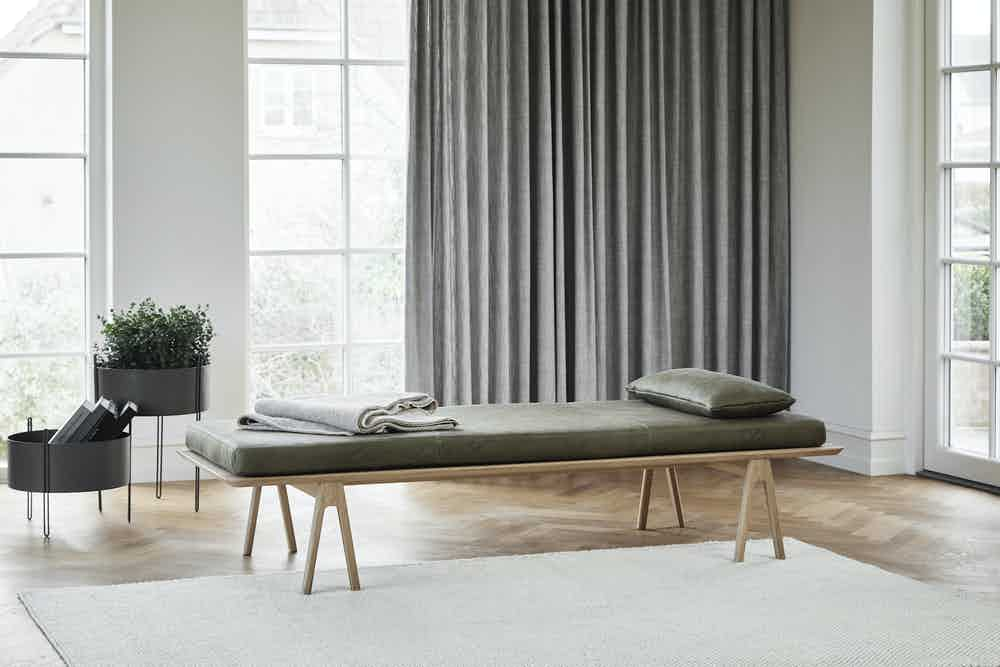 Woud furniture level daybed green insitu haute living