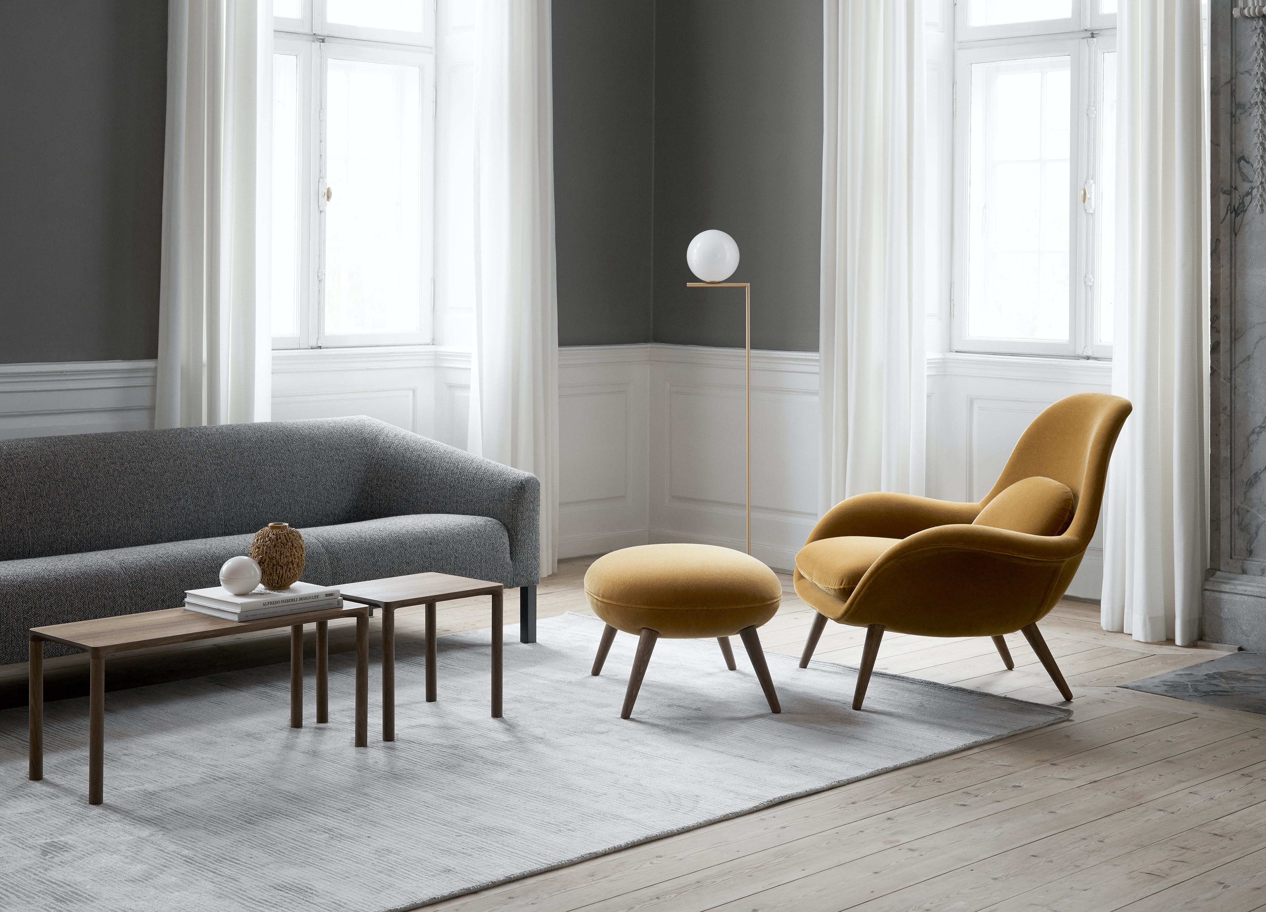 Fredericia-swoon-chair-insitu-yellow-haute-living