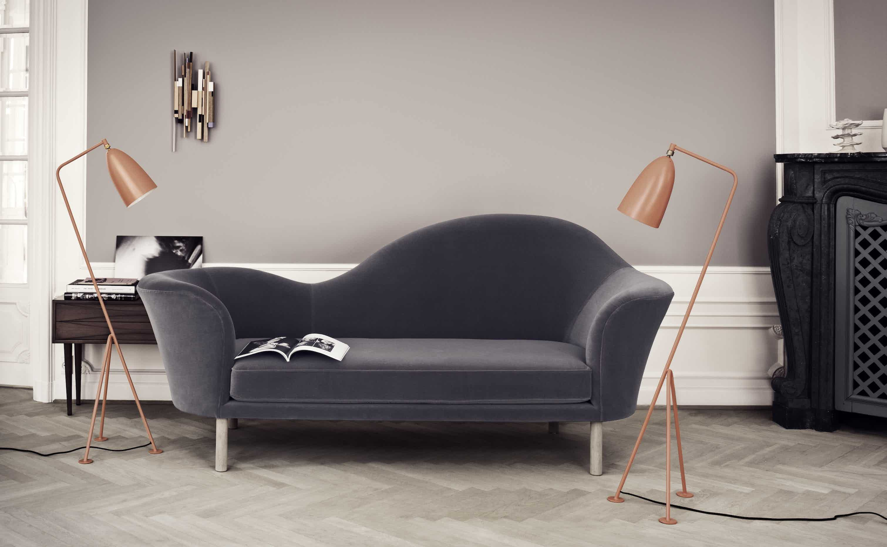 Gubi grand piano sofa insitu grey haute living