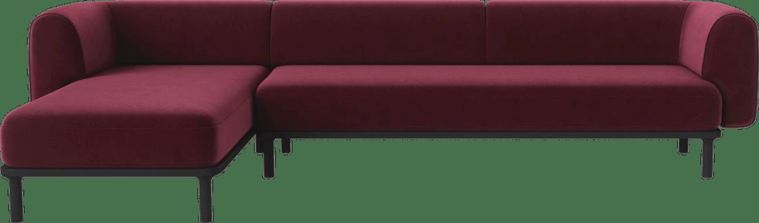 bolia red velvet abby sectional sofa haute living