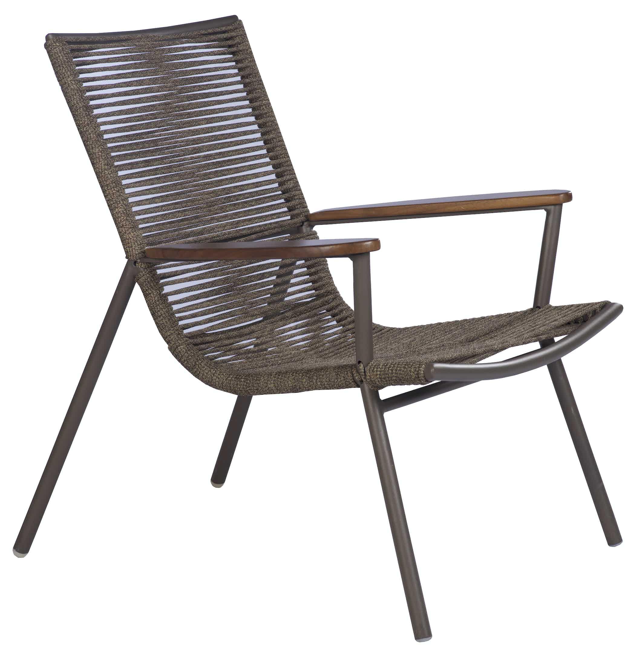 Tidelli amado lounge chair brown angle haute living