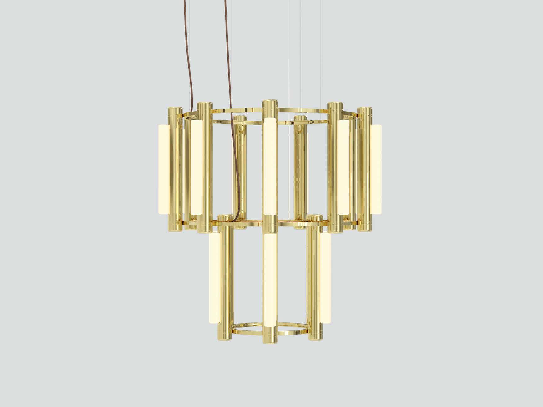 Andlight pipeline chandelier 7 brass haute living